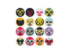 Luchador icons for an in development iPad app.
