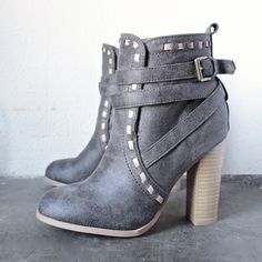"""- distressed faux leather upper - Heel Height: 4"""" (approx) - Shaft Length: 8"""" (including heel) - Top Opening Circumference: 8"""" (approx) - synthetic sole - imported"""