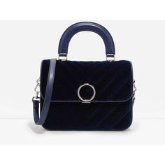 Circular Buckle Textured Bag | CHARLES & KEITH ($54) ❤ liked on Polyvore featuring bags, handbags, charles keith bag, chain strap bags, top handle handbags, blue bag and chain-strap handbags