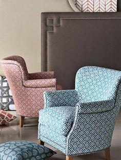Blue & White + Red & White Custom Upholstered Furniture