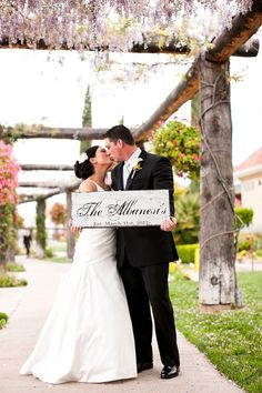 Wedding Sign, Bride and Groom Sign with Last Name and Wedding Date, Custom Family Name Sign. Great Gift Idea. 10 X 24 inches. on Etsy, $62.95