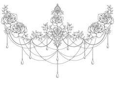 Romantic sternum piece #tattoo #tattoos #tattooed #tattoodesign #tattooedgirls #tattooartist #ink #inked #inkedup #inkedgirls #art #artist #artwork #digital #drawing #floral #floraltattoo #flowers #flowertattoo #sternum #sternumtattoo #underboob #underboobtattoo #chains #blackandgrey #linework