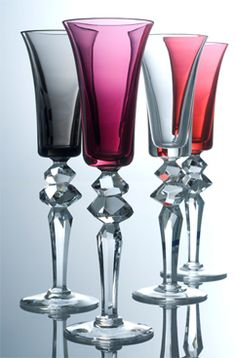 """Excess"" glasses by Saint Louis crystal company France Baccarat Crystal, Crystal Glassware, Crystal Vase, Rotter Glas, Cut Glass, Glass Art, Saint Louis Crystal, Vases, In Vino Veritas"