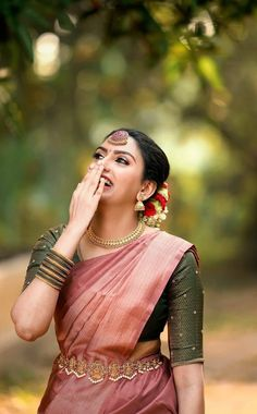 Half Saree Designs, Fancy Blouse Designs, Bridal Blouse Designs, Indian Bridal Outfits, Indian Bridal Fashion, Indian Designer Outfits, Kerala Engagement Dress, Engagement Saree, South Indian Wedding Saree
