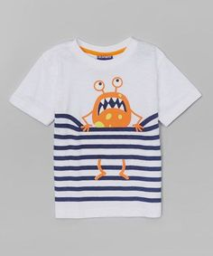 Another great find on White Stripe Monster Tee - infant, Toddler & Boys Baby Shirts, Boys T Shirts, Baby Boy Outfits, Kids Outfits, Kids Nightwear, Toddler Boys, Infant Toddler, Kids Wear, Baby Wearing