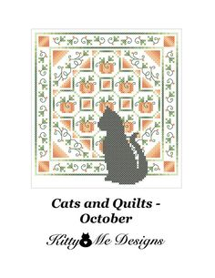 Cross Stitch Pattern PDF  Cats and Quilts October  by arcadecache, $8.95