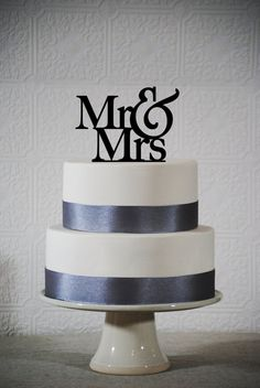 Mr and Mrs Wedding cake topper by WithTheseWords on Etsy, $15.00