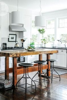 modern white* rustic wood* industrial stools* lovely*