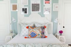 Chic tween girl's bedroom with framed shopping bags over white headboard on white and blue vertically striped walls next to white etagere nightstands, Serena & Lily Curvee Shelf Table, accented with white task lamps. Dream Bedroom, Home Bedroom, Bedroom Decor, Bedding Decor, Bedroom Ideas, Teen Girl Bedrooms, Big Girl Rooms, Teen Bedroom, Gossip Girl Bedroom