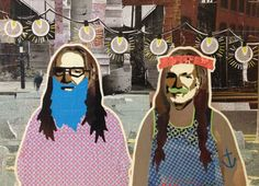 Willie as Hipsters II -- 18 x 24 in -- Mixed Media on Board -- $275 + $15 shipping -- CONTACT: annegenung@gmail.com