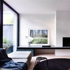 Cozy Living Rooms, Living Area, Living Spaces, Tv Wall Decor, Wall Art, White Wash Brick, Home Interior, Interior Ideas, Interior Inspiration
