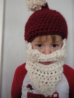 @Shari Bruce I saw this and thought of you and your mad skills! Crochet Santa beard & hat.  Ho ho awesome