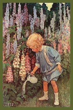 Quilt Block of 1912 painting of Young Girl Watering Flowers by Jessie Willcox Smith printed on cotton. Ready to sew.  Single 4x6 block $4.95. Set of 4 blocks with pattern $17.95.
