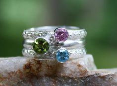 Stacking Family & Mother's Ring Gemstones by sherisdesigns on Etsy, $135.00