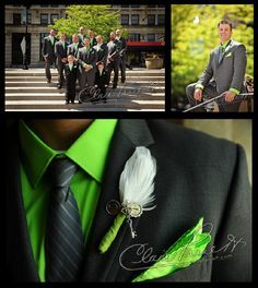 Lime green and grey for the guys...so unique!