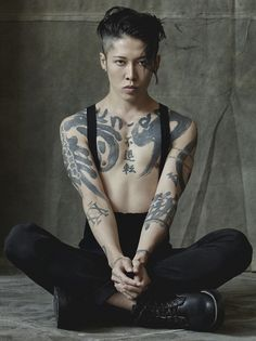 "wgsn: "" Japanese actor and musician Miyavi shows off his incredible calligraphy-style tattoos in December's issue of Interview """