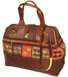 Kilim leather Bohemian travel tote shoulder boho, ethnic, gypsy, hippie carry on, weekend bag holiday bag
