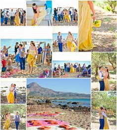 Yellow themed Jewish wedding blessing on the beach - complete with chuppah!Link in description. Wedding Blessing, Chuppah, Crete, Real Weddings, Wedding Planner, Product Description, Yellow, Link, Beach