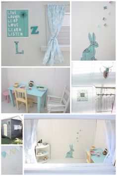 cubbyhousedetails from the happy home blog. This is super cute - we are about to start our playhouse project and have begun to gather materials. Love the light interior.
