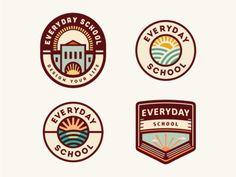 Everyday School [logo concepts - still in progress] - logo design / branding - Education App Design, Crea Design, Badge Design, Design Retro, Vintage Logo Design, Logos Vintage, School Badges, Logo Minimalista, Restaurant Logo