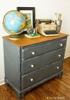 A Masculine Dresser Makeover using Chalky Finish paint.