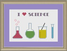 "Cross stitch science pattern. ""I <3 Science"" with beakers and other glassware. Geek!"