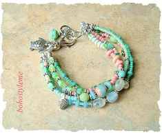 Boho Beaded Beach Bracelet Gemstone Bracelet Sea Turtle