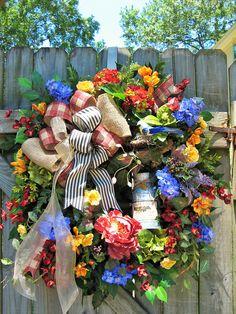 Farmhouse Wreath Country French Wreath Spring Wreath Summer