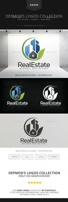 Real Estate V.02 Logo by Opaq Logo of stylized skyscrapers and home in leaf ending circular shape. Full vectors, this logo can be easily resize and colors can b