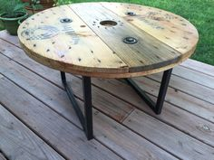 Reclaimed Cable Reel Table Handmade in Colorado by MotorStreet