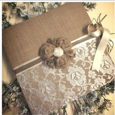 Hessian and lace wedding guest book with by VintageLaBelle77