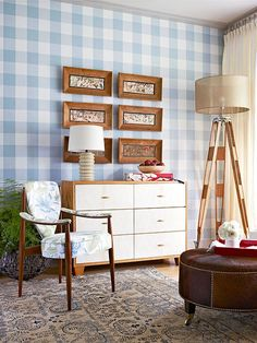 Love the gingham wall. A two-tone dresser gives this traditional bedroom modern flair. White Wood Dresser, White Dressers, Sophisticated Bedroom, Cozy Living Spaces, Living Area, Wood Bedroom, Traditional Bedroom, Trendy Bedroom, Bedroom Modern