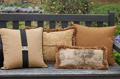 Pillows are a great way to spruce up any interior. Bringing a touch of your horse life to your living space creates a more personal feeling. Pillows can be more causual like the one mimicking a stable blanket or classic as seen with a faint farm scene with fringe trim.