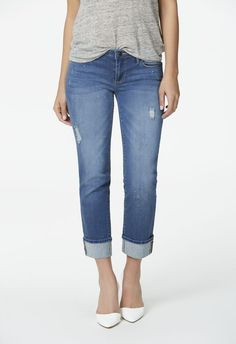 Relaxed Straight Cuffed in Rain Drops - Get great deals at JustFab