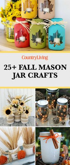 25 Mason Jar Crafts That Will Get You So Excited for Fall. 30 Mason Jar Fall Crafts - Autumn DIY Ideas with Mason Jars. Say hi to the cutest fall crafts you've ever seen! Pot Mason Diy, Fall Mason Jars, Mason Jar Gifts, Mason Jar Fall Crafts, Ideas With Mason Jars, Ideas For Jars, Diy Crafts With Mason Jars, Jelly Jar Crafts, Pickle Jar Crafts
