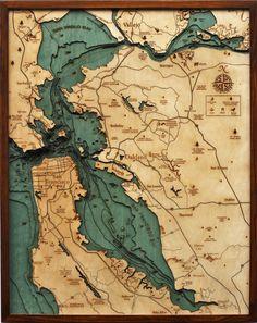 Laser cut wood map of SF bay