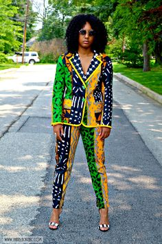 That Black Chic: Sew What? Simplicity 1421 Sew-A-Long Blazer. African Print Dresses, African Fashion Dresses, African Dress, Fashion Outfits, Fashion Trends, African Prints, Ghanaian Fashion, African Outfits, African Textiles