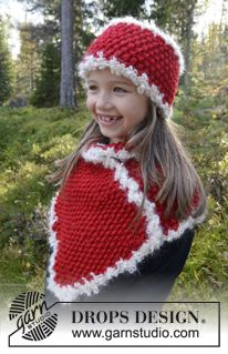 "DROPS Christmas: Knitted DROPS neck warmer and head band in ""Eskimo"" with crochet edges in ""Puddel"". Size 3-12 years ~ DROPS Design"