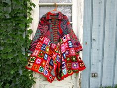 XL One of a Kind Granny Square Wearable Art Coat// by emmevielle