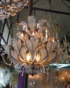 It might be flamboyant, but I think it's beautiful. Art Deco Chandelier, Beautiful Chandelier, Chandelier Lamp, Chandelier Lighting, Beautiful Lamp, Art Deco, Lights, Light, Chandelier