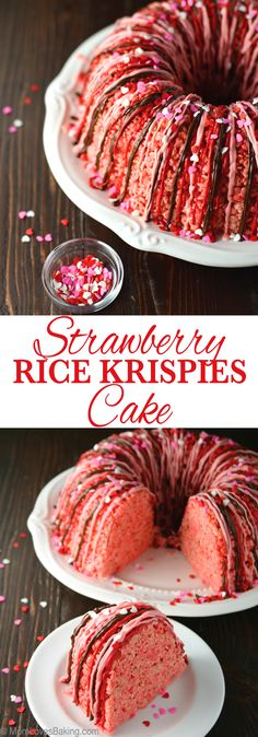 Strawberry Rice Krispies Cake Strawberry flavored rice krispy treats are pressed into a Bundt pan to create a cute cake drizzled with chocolate. Rice Krispie Cakes, Krispie Treats, Rice Krispies, Delicious Desserts, Dessert Recipes, Yummy Food, Cake Recipes, Cereal Recipes, Frosting Recipes