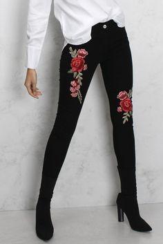 Black Floral Embroidered Jeans