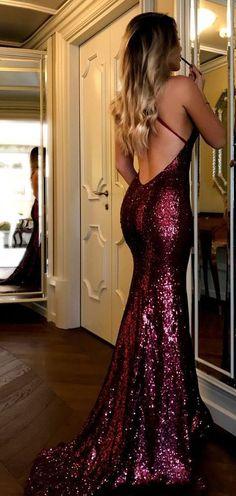 On Sale Fine Prom Dresses 2019 Sparkly Sequins Burgundy Long Prom Dress Evening Dress Backless Prom Dresses, Mermaid Prom Dresses, Homecoming Dresses, Long Fitted Prom Dresses, Burgundy Prom Dresses, Maroon Long Dress, Form Fitting Prom Dresses, Burgundy Sequin Dress, Prom Dresses