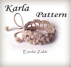 Pattern crochet beaded bracelet.Jewelry crochet Pattern.PDF file tutorial bracelet textile.Braided bracelet cuff.