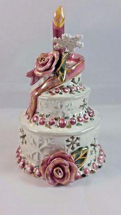 New Roses Birthday Cake Tealite Holder Clayworks from Blue Sky Heather Goldminc #BlueSkyClayworks
