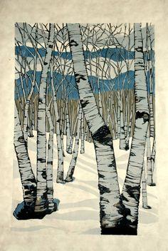 Northern Shadows, large relief woodcut. Lisa Van Meter