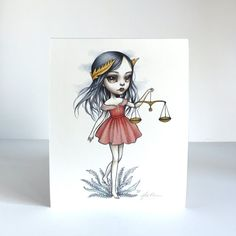 Libra Zodiac Girl signed 8x10 pop surrealism lowbrow por mabgraves