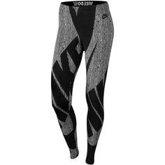 Nike Leg-a-See Glyph Printed Leggings (390 NOK) ❤ liked on Polyvore featuring pants, leggings, black, nike leggings, nike, legging pants and nike pants