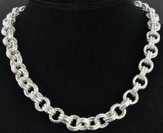 Prochain Sterling Silver Textured Fancy Double Rolo 11mm Link Chain Necklace #Prochain #Chain