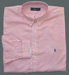 New 2XLT 2XL TALL POLO RALPH LAUREN Mens button down dress shirt pink 2XT stripe
